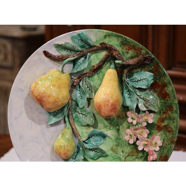 French Large 19th Century French Barbotine Wall Platter With Pears From Longchamp For Sale - Image 3 of 10