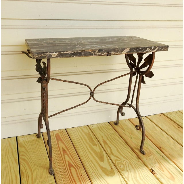 Art Deco Iron Marble Top Hand Forged Side Table For Sale - Image 4 of 8