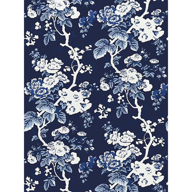 Traditional Scalamandre Ascot Floral Print, Indigo Wallpaper For Sale - Image 3 of 3