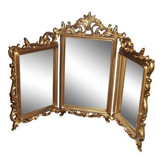Syroco Mid Century Modern Shabby Chic Gold Wood Three Pane Articulating Mirror For Sale