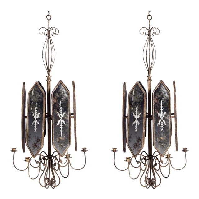 Italian Etched Mirror Panel Hanging Candlestick Chandeliers For Sale