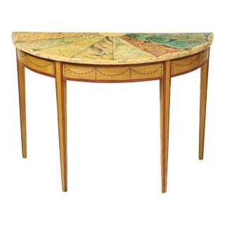 19th Century Adam Style Trompe l'Oeil Demi-Lune Console Table For Sale