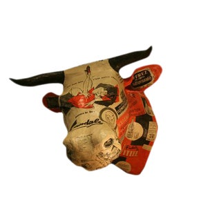 Nicole Jacobs and Aude Goalec Contemporary Paper Mache Sculpture of a Bull's Head For Sale