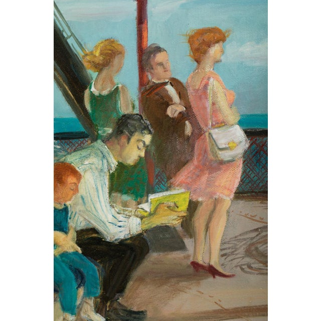 """1950s Mid 20th Century """"Riders on the Staten Island Ferry"""" Oil Painting By Cecil Crosley Bell For Sale - Image 5 of 11"""