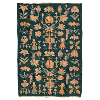 Mid-Century Modern Wall Tapestry Green Rug For Sale
