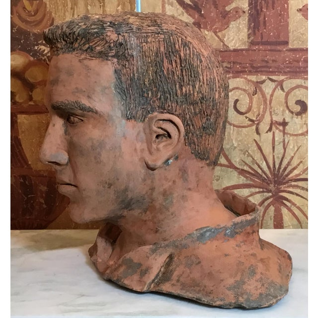 Americana Young Man Terra Cotta Bust Signed MD For Sale - Image 3 of 13