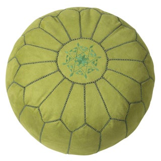 Suede Leather Pouf - Lime Green (Stuffed)
