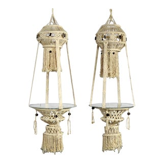 Vintage Pair of Bohemian White Macramé Hanging Tables With Round Glass Tops For Sale