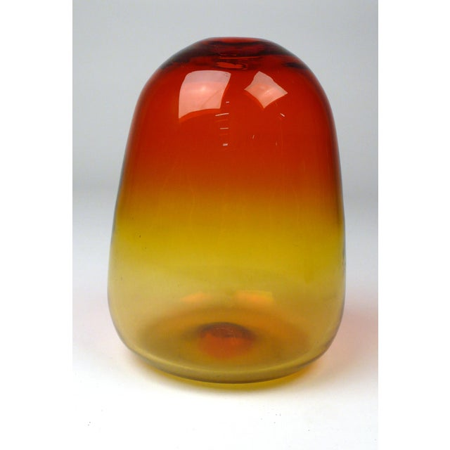 Early handcrafted Blenko Bud vase in Tangerine. Shown in the 1957 Blenko catalogue as model 5723. In perfect condition.