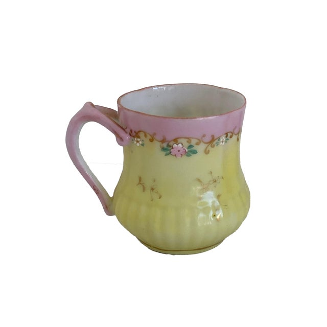 Antique Pink and Yellow Demitasse Tea Cup and Saucer For Sale - Image 4 of 7