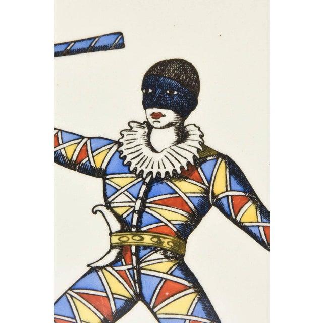 Black Pair of Rare Vintage Fornasetti Ceramic Jester Ceramic Plaques Custom Framed For Sale - Image 8 of 13