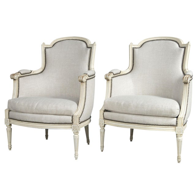French Louis XVI Style Bergeres - a Pair For Sale
