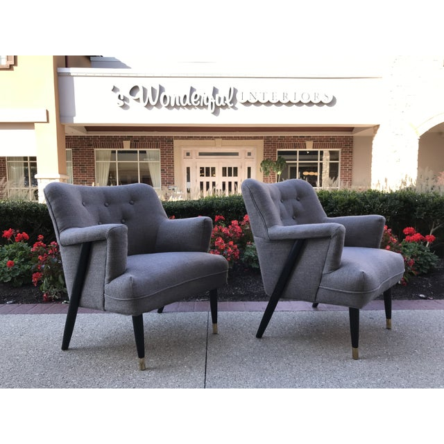Handsome pair of chairs that have been restored. 8 way tied springs with lasagna strap. Reupholstered in a Gray woven...