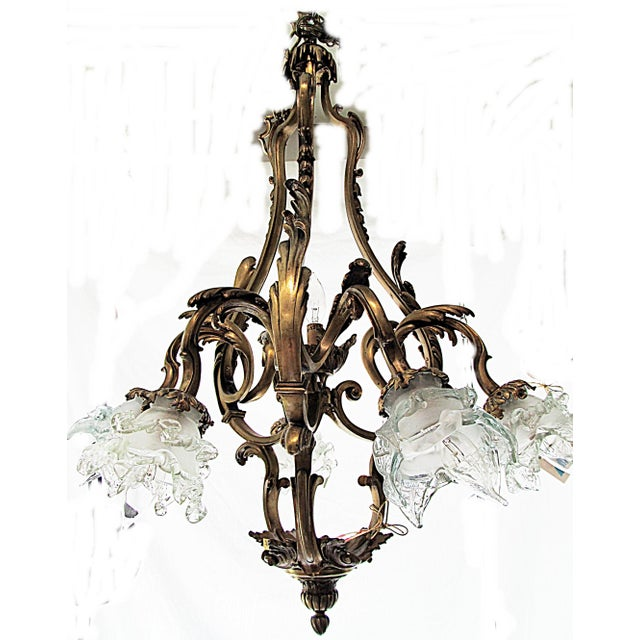 Here's a stunning 19c French gold-plated bronze chandelier in period art nouveau style. Not a straight line to be seen,...
