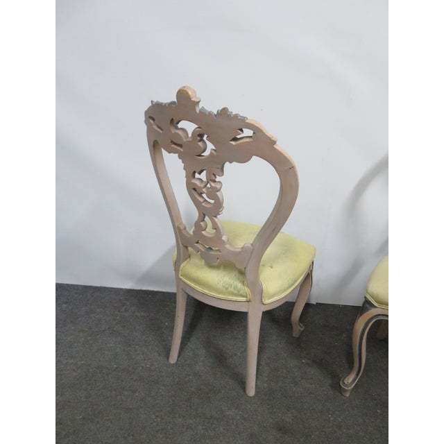 Late 19th Century Victorian Rose Carved Painted Side Chair For Sale - Image 9 of 10