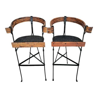 Vintage Mid Century Modern Wrought Iron Bentwood Bamboo Rattan Wicker Barstools - Set of 2 For Sale