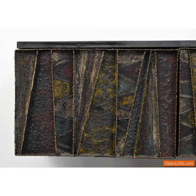 Mid 20th Century Paul Evans for Directional Deep Relief Wall Cabinet For Sale - Image 5 of 12