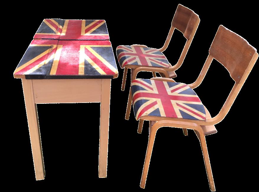 1960s British Flag School Desk Amp Chairs Chairish