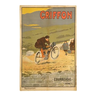Motorcycle Poster by Walter Thor, circa 1910 For Sale