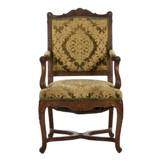 Antique French Rococo Revival Upholstered Arm Chair, 19th Century For Sale