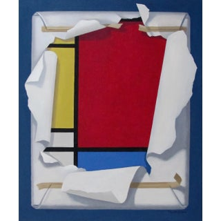 """""""Mondrian's Ideal"""" Modern Acrylic Painting on Canvas, 2018 For Sale"""