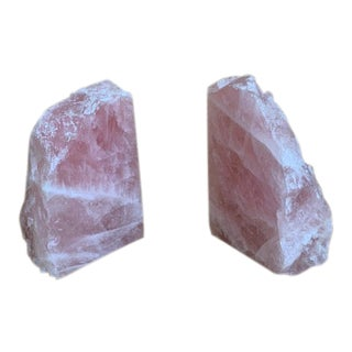 Pink Rose Quartz Bookends - a Pair For Sale