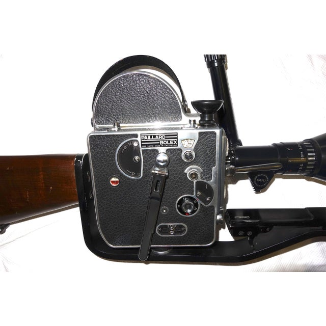 Industrial Custom Hand Built Wood Hunting Gunstock and Fitment Carraige and Handgrip For A Bolex Movie Camera. Built By The Famous Gunsmith Dale Williams . For Sale - Image 3 of 11