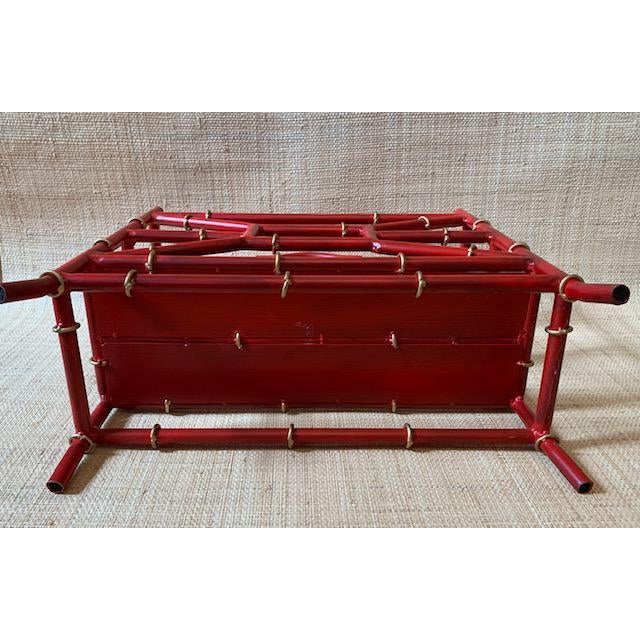 Mid 20th Century Maison Bagues Style Metal Bamboo Motif Magazine Rack For Sale - Image 5 of 7