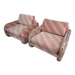 1970's Brass & Velvet Peach Striped Club Chairs - A Pair
