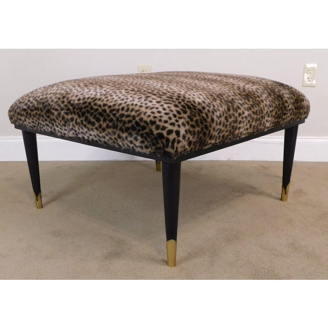 Mid-Century Modern Mid Century Modern Square Cheetah Print Ottoman For Sale - Image 3 of 13
