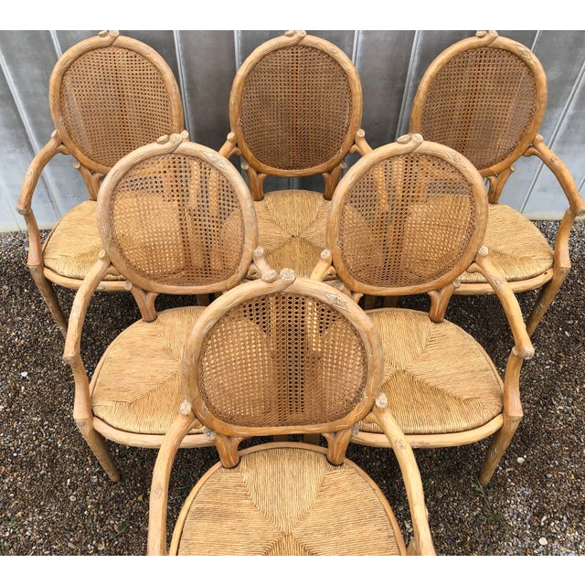 French 1970s Vintage Faux Bois Louis XVI Armchairs - Set of 6 For Sale - Image 3 of 12