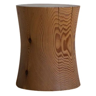Sculpted Wood Stump Side Table For Sale
