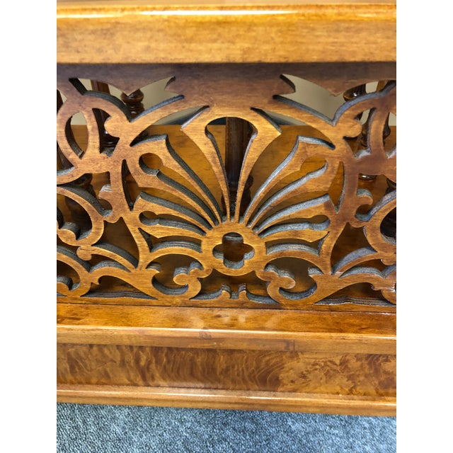 Mobili Burl Canterbury and Console With Carved Fretwork For Sale - Image 10 of 12
