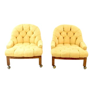 Mid-Century Crewelwork Tufted Club Chairs on Casters - a Pair