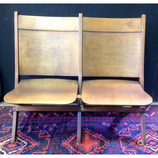 Vintage Wooden Theatre Seats - Image 3 of 6