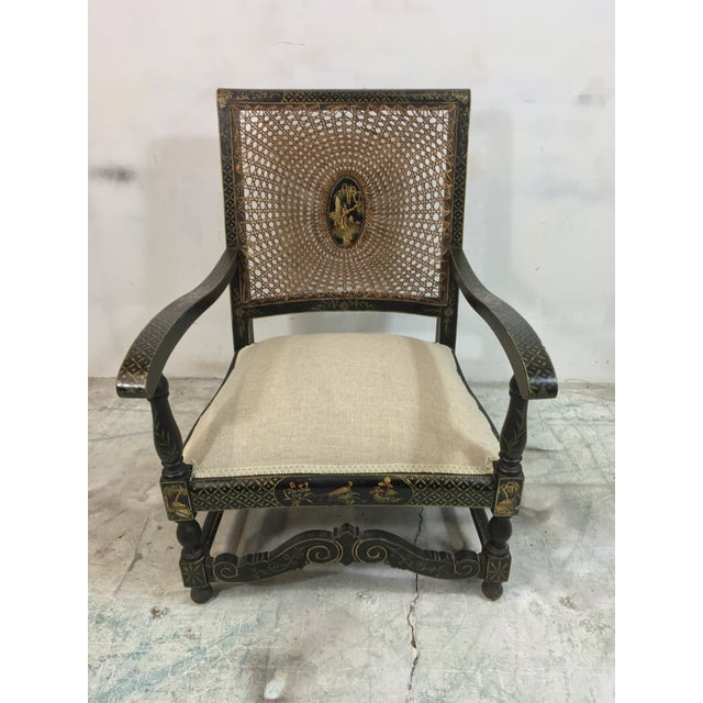 Antique Chinoiserie Arm Chairs - a Pair For Sale - Image 4 of 7