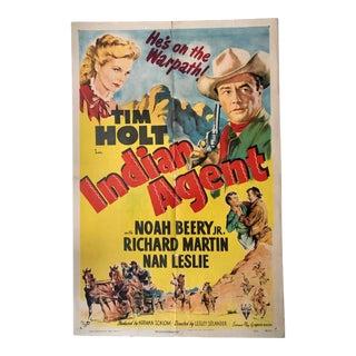 Vintage Western Movie Poster - Indian Agent Starring Tim Holt For Sale