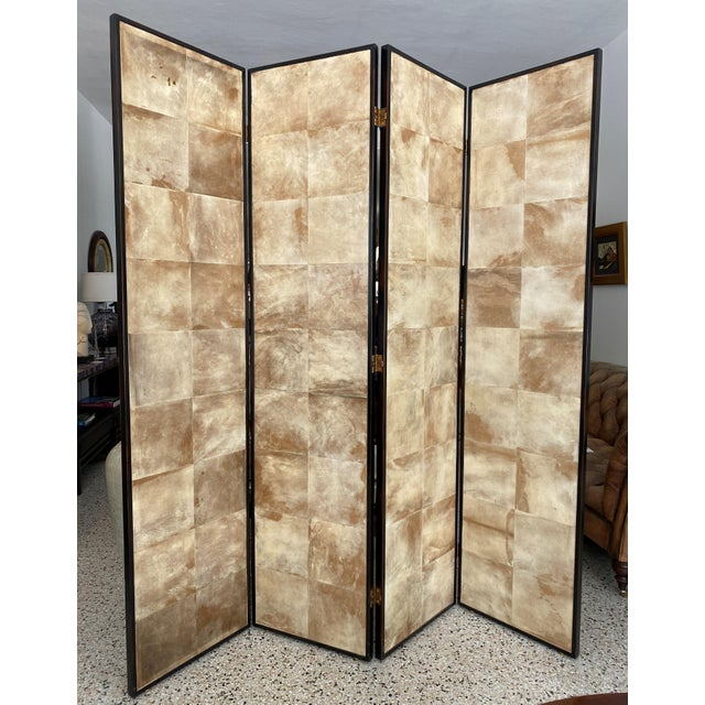 Vintage Jean Michel Frank Style Parchment Room Divider Screen For Sale - Image 11 of 11