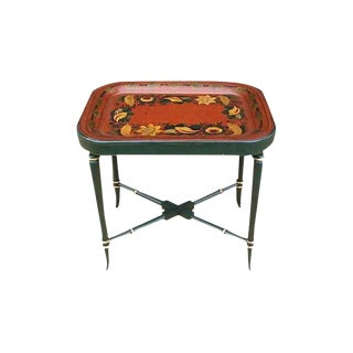 Mid 19th Century Vintage Painted Tole Tray Table For Sale
