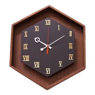 Mid-Century American Modern Walnut Hexagon Wall Clock For Sale