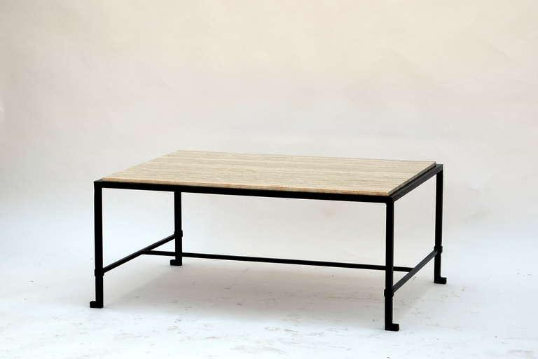 Diagrammeu0027 Travertine And Wrought Iron Coffee Table By Design Frères