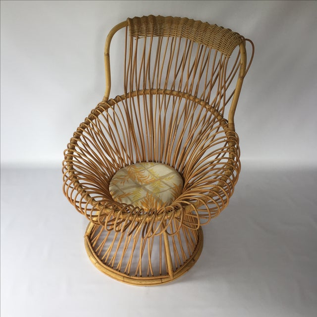 Franco Albini Style Vintage Rattan Margarita Chair For Sale - Image 7 of 7