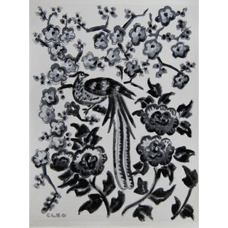 Chinoiserie Pheasant Bird and Floral Painting by Cleo Plowden For Sale