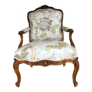 Late 18th Century Antique French Louis XV Fauteuil a La Rein Arm Chair For Sale
