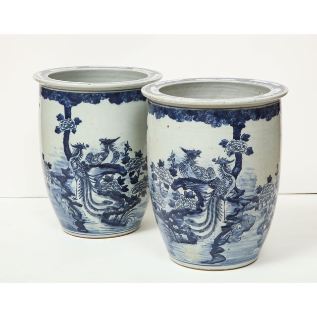 Ceramic Chinese Blue and White Planters - A Pair For Sale - Image 7 of 13