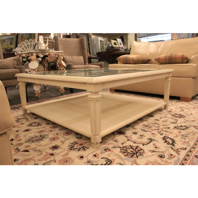 Americana 20th Century Hollywood Regency Square Cane Top Coffee Table For Sale - Image 3 of 9