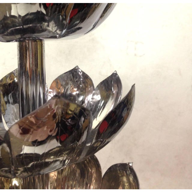 Tall Chrome Lotus Feldman Table Lamp - Pair - Image 6 of 8