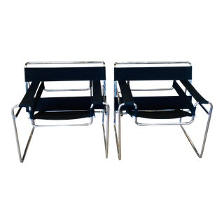 Vintage Mid Century Black Canvas and Chrome Wassily Chairs - a Pair For Sale