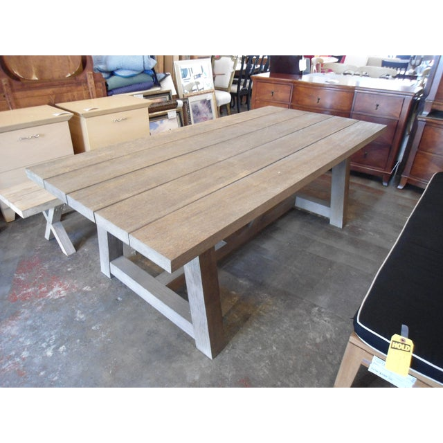 This Restoration Hardware French Teak Outdoor Dining Set compliments your patio with grace. Thick Teak legs, slats...