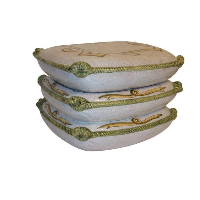 White Vintage Neoclassical Ceramic Garden Stools - a Pair For Sale - Image 8 of 11